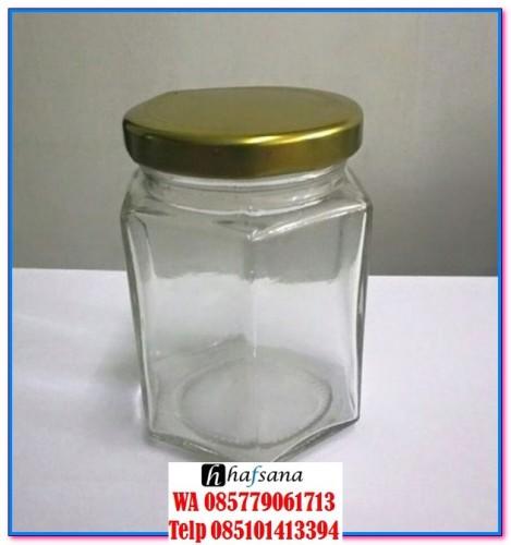 botol kaca hexagonal botol kaca segi enam botol madu botol selai botol souvenir toples kaca grosir toples kaca