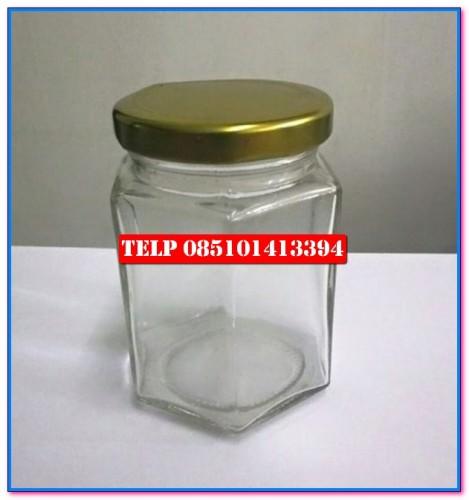 botol kaca hexagonal, botol kaca segi enam, botol madu, botol selai, botol souvenir, toples kaca, grosir toples kaca