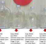 Botol Kaca Gepeng Size 200ml, 250ml, 350ml, 500ml