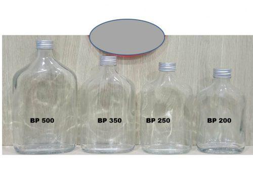 Botol kaca gepeng 200ml, 280ml, 350ml, 500ml