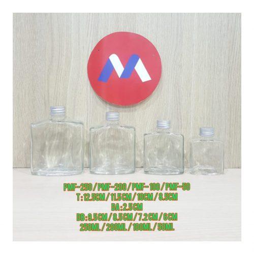 Botol Kaca Gepeng Import Tutup Silver