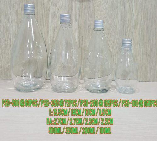Botol Kaca Bohlam Tutup Silver