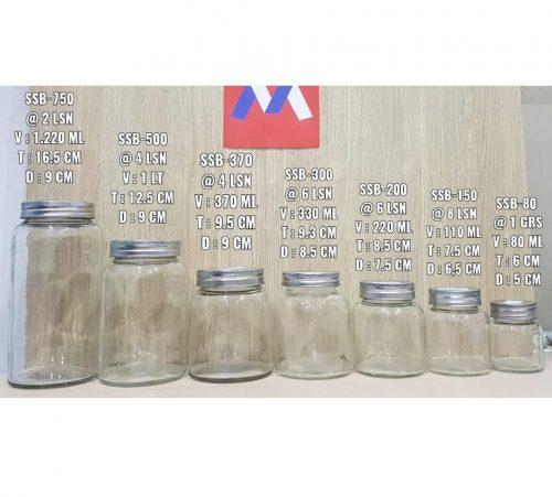 Jar Kaca Round Tutup Seng Silver