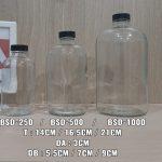 Botol Kaca Bulat Size 150ml, 280ml,350ml, 500ml